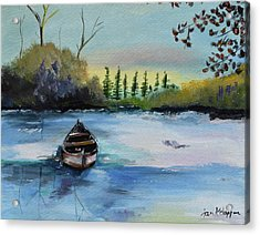 Acrylic Print featuring the painting Boat Abandoned On The Lake by Jan Dappen