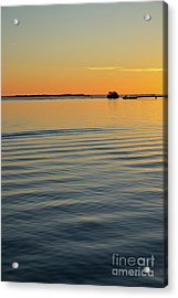 Boat And Dock At Dusk Acrylic Print