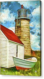 Boat And Lighthouse, Monhegan, Maine Acrylic Print by Dave Higgins