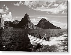 Boat And Pitons-st Lucia Acrylic Print by Chester Williams