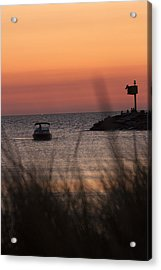 Boat Arriving At New Buffalo Harbor Acrylic Print by Christopher Purcell