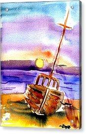 Boat Ashore Acrylic Print by Janet Doggett