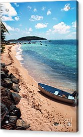 Boat Beach Vieques Acrylic Print by Thomas R Fletcher