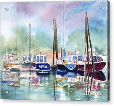 Boat Harbor In Fog Acrylic Print