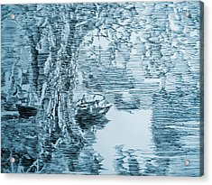 Boat In Blue Acrylic Print by Robbi  Musser