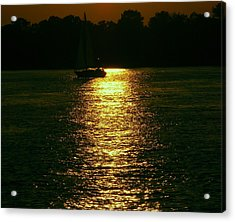Boat In The Reflection Acrylic Print by D R TeesT
