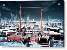 Boat Lift In The Port Acrylic Print by John Rizzuto