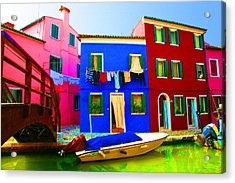 Boat Matching House Acrylic Print by Donna Corless