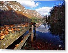 Boat Mooring At Lake Bohijn Acrylic Print