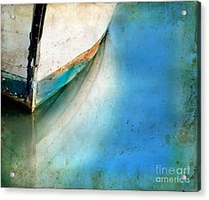 Bow Of An Old Boat Reflecting In Water Acrylic Print by Jill Battaglia