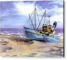 Boat On A Beach Acrylic Print by Sergey Zhiboedov