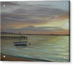 Boat On Bay Acrylic Print by Joan Swanson