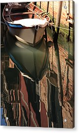 Boat On Canal In Venice With Reflection Acrylic Print by Michael Henderson