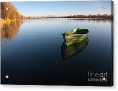 Boat On Lake Acrylic Print by Nailia Schwarz