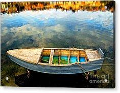 Boat On Lake Acrylic Print by Silvia Ganora