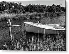 Boat On Pamlico Sound Ocracoke Island Outer Banks Bw Acrylic Print by Dan Carmichael