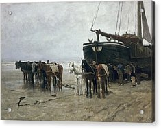 Boat On The Beach At Scheveningen Acrylic Print by Anton Mauve