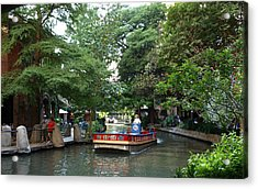 Boat On The San Antonio River Acrylic Print by Dennis Stein
