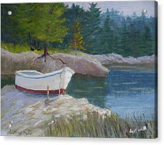 Boat On Tidal River Acrylic Print