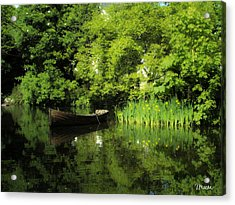 Boat Reflected On Water County Clare Ireland Painting Acrylic Print