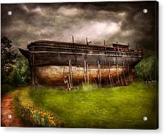 Boat - The Construction Of Noah's Ark Acrylic Print by Mike Savad