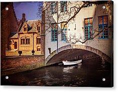 Boat Under A Little Bridge In Bruges  Acrylic Print by Carol Japp