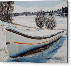 Acrylic Print featuring the painting Boat Under Snow by Marilyn  McNish