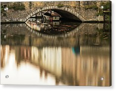Boat Waddling On Water Channels Of Bruges, Belgium Acrylic Print