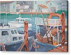 Acrylic Print featuring the painting Boat Works by Tony Caviston