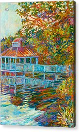 Boathouse At Mountain Lake Acrylic Print by Kendall Kessler