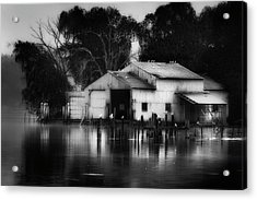 Acrylic Print featuring the photograph Boathouse Bw by Bill Wakeley