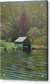 Boathouse On Langwater Pond Acrylic Print