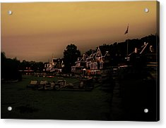 Acrylic Print featuring the photograph Boathouse Row From The Lagoon Before Dawn by Bill Cannon