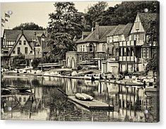 Boathouse Row In Sepia Acrylic Print by Bill Cannon