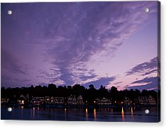 Boathouse Row In Twilight Acrylic Print by Bill Cannon