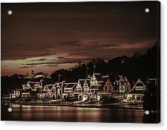 Boathouse Row Philadelphia Pa Night Retro Acrylic Print