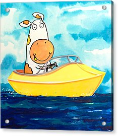 Boating Cow Acrylic Print