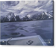 Acrylic Print featuring the painting Boating Jenny Lake, Grand Tetons by Erin Fickert-Rowland