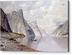 Boating On A Norwegian Fjord Acrylic Print by Johann II Jungblut