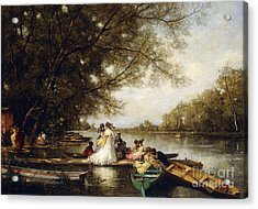 Boating Party On The Thames Acrylic Print by Ferdinand Heilbuth