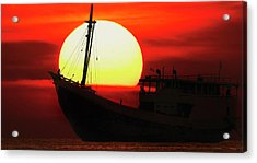Boatman Enjoying Sunset Acrylic Print