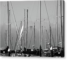 Boats And A Bridge On The Bay Acrylic Print