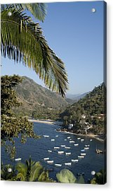 Boats And Beach In Yelpa Acrylic Print by Carl Purcell