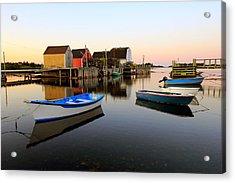 Boats And Fish Shacks At Blue Rocks, Nova Scotia Acrylic Print