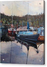 Boats At Dock Heriot Bay Inn Acrylic Print