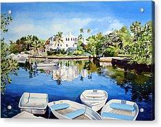 Boats At Fairyland Acrylic Print by Matthew Phinn