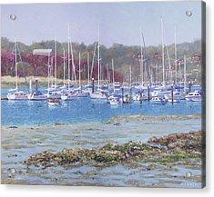 Acrylic Print featuring the painting Boats At Hamble Marina by Martin Davey
