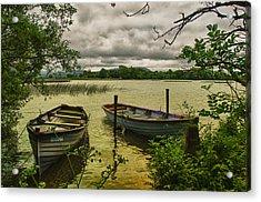 Boats At Holy Island County Clare Ireland Acrylic Print by Joe Houghton