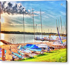 Boats At Lake Decatur Acrylic Print by Ann Higgens