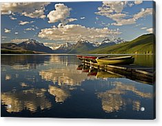 Acrylic Print featuring the photograph Boats At Lake Mcdonald by Gary Lengyel